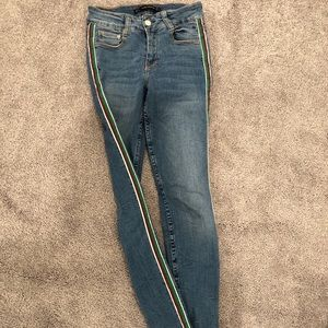 Red and green stripe skinny jeans